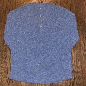 Light Blue Long Sleeve Marled Henley